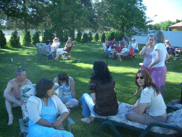 relaxing at Buddhist picnic